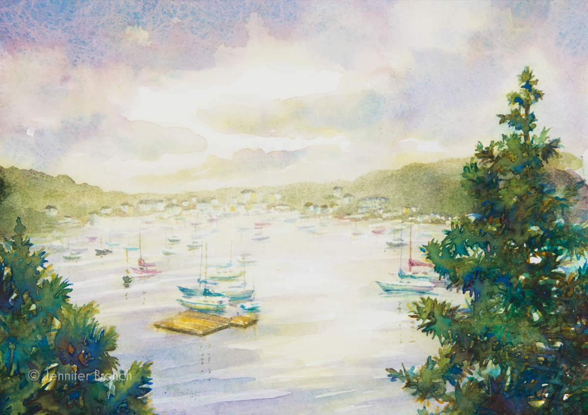 Northeast Harbor watercolor painting by Jennifer Branch.