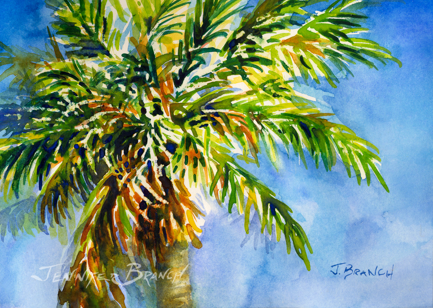 Watercolor painting galleries for Painting palm trees