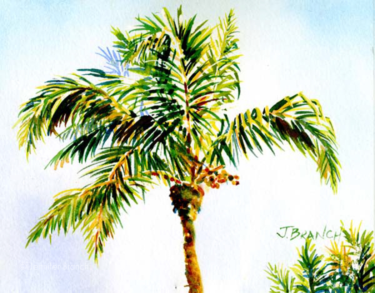 Queen palm tree watercolor painting