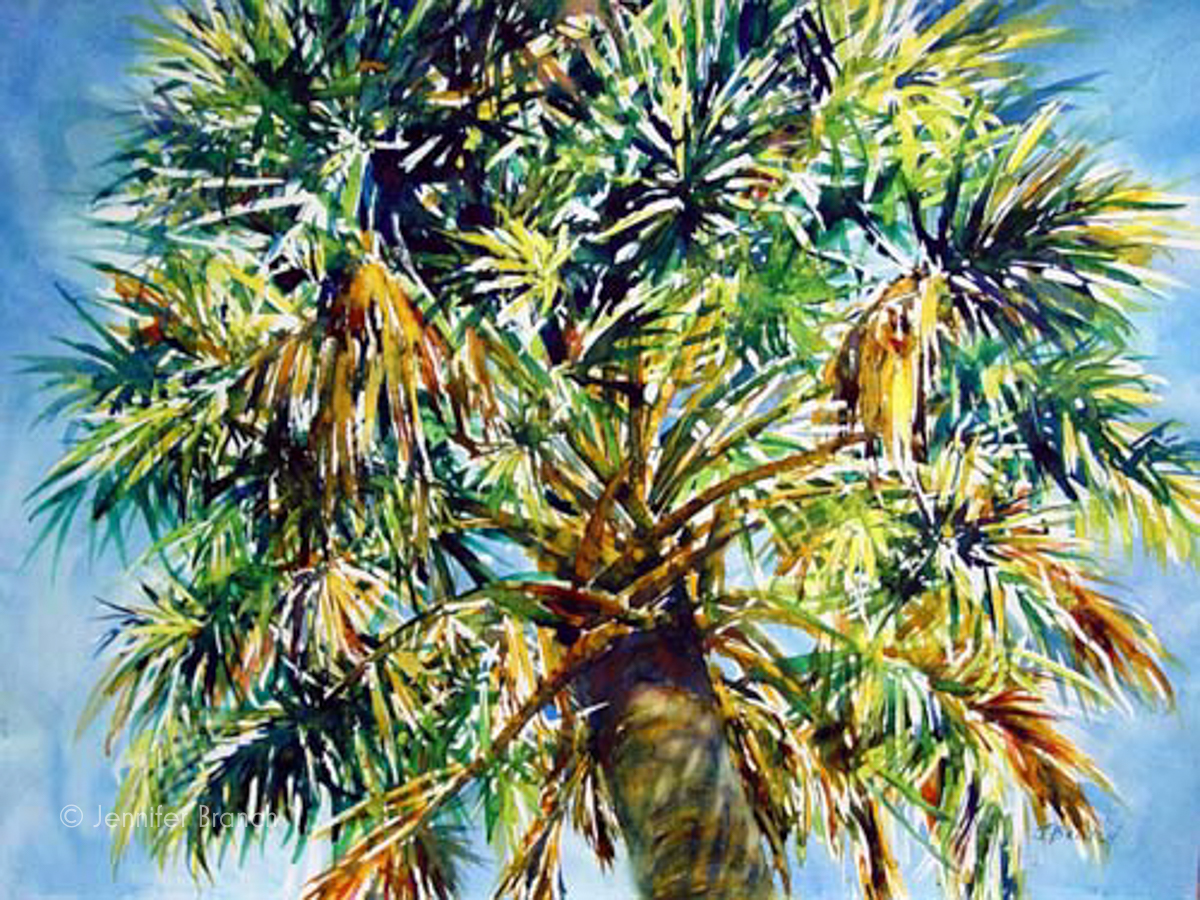 Cabbage palm tree watercolor painting