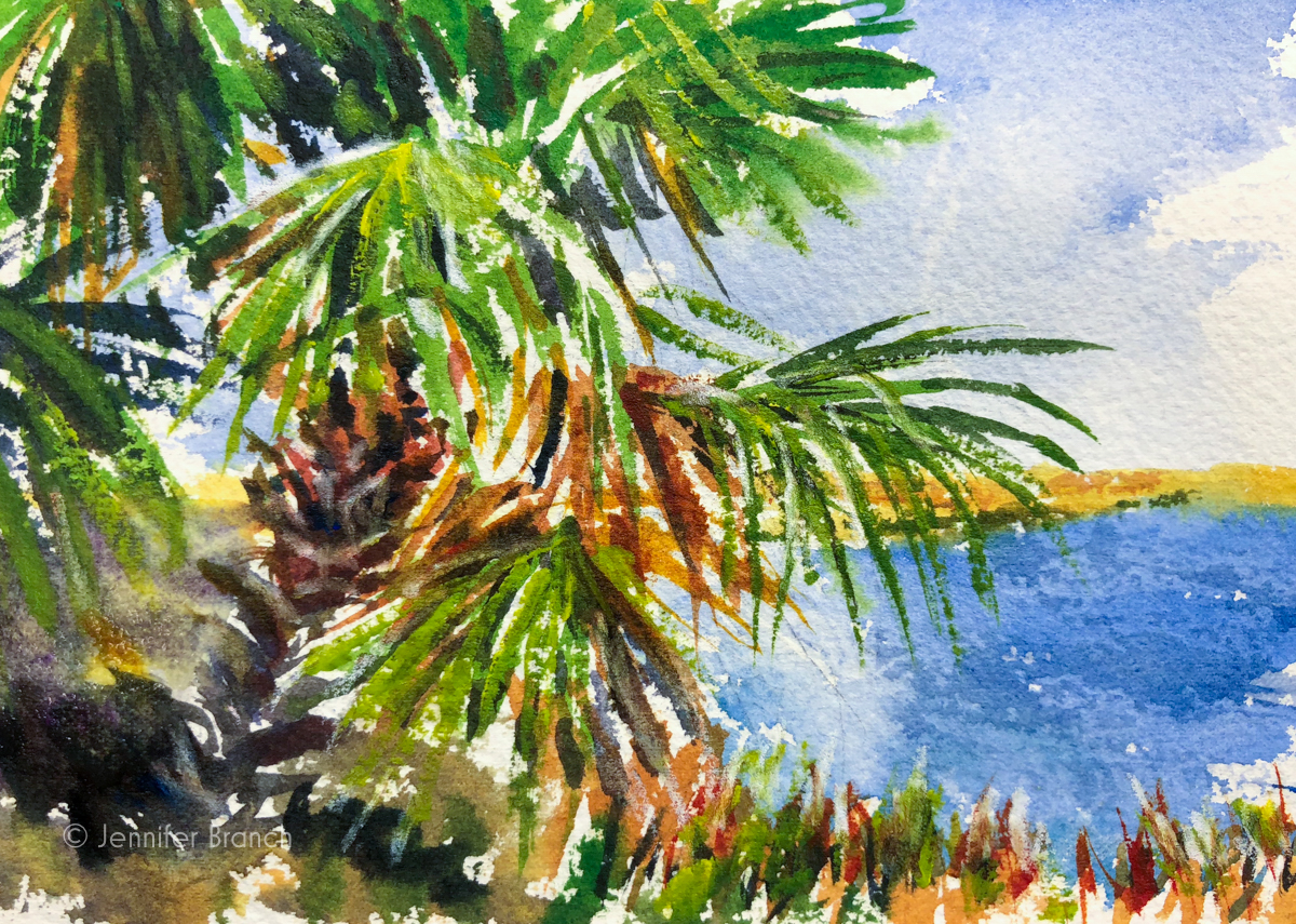 A watercolor painting sketch of palmettos near Savannah, Georgia.