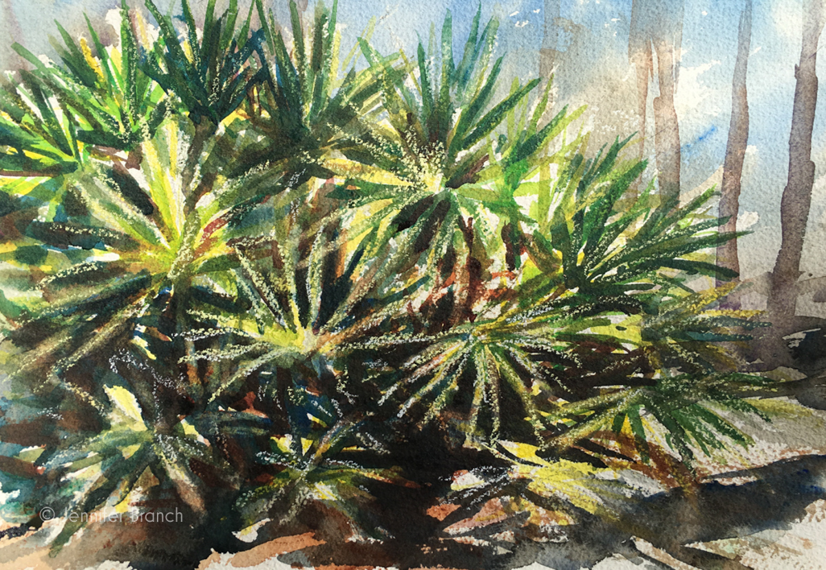 Palmettos watercolor sketch on Arches Rough Press paper.