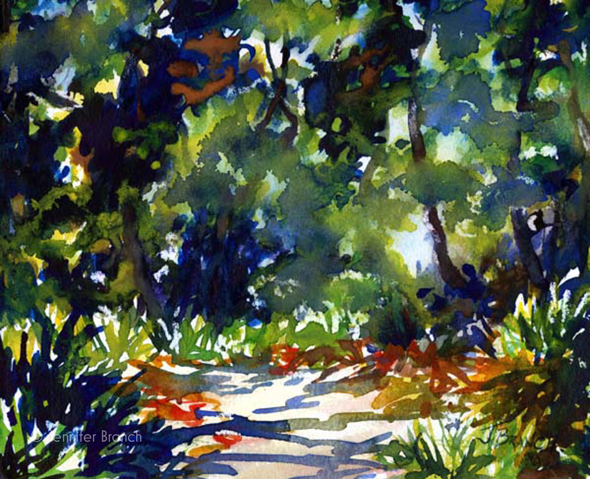 Beach Path watercolor painting by Jennifer Branch.