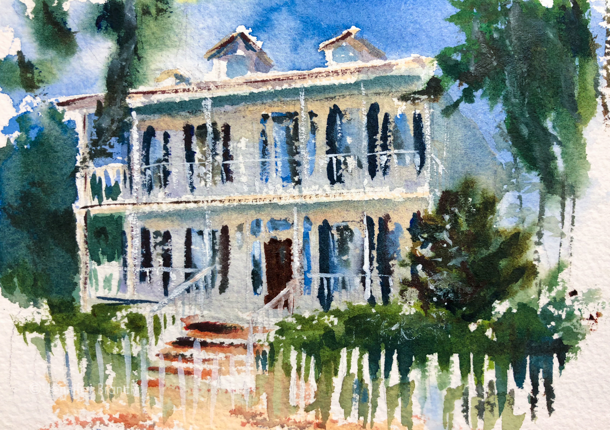 A tiny sketch of a beautiful house on the Isle of Hope, Georgia, by Jennifer Branch.