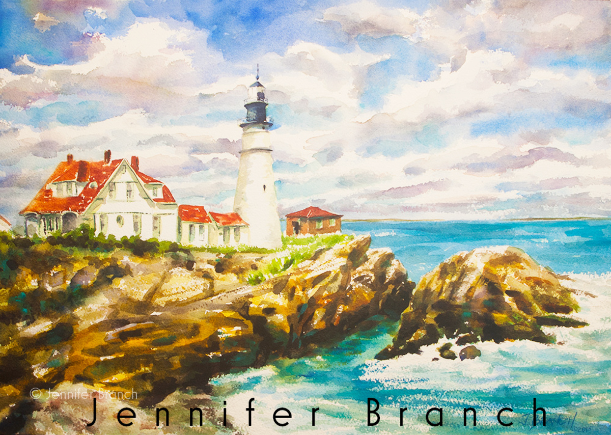 Portland Head Lighthouse watercolor painting tutorial