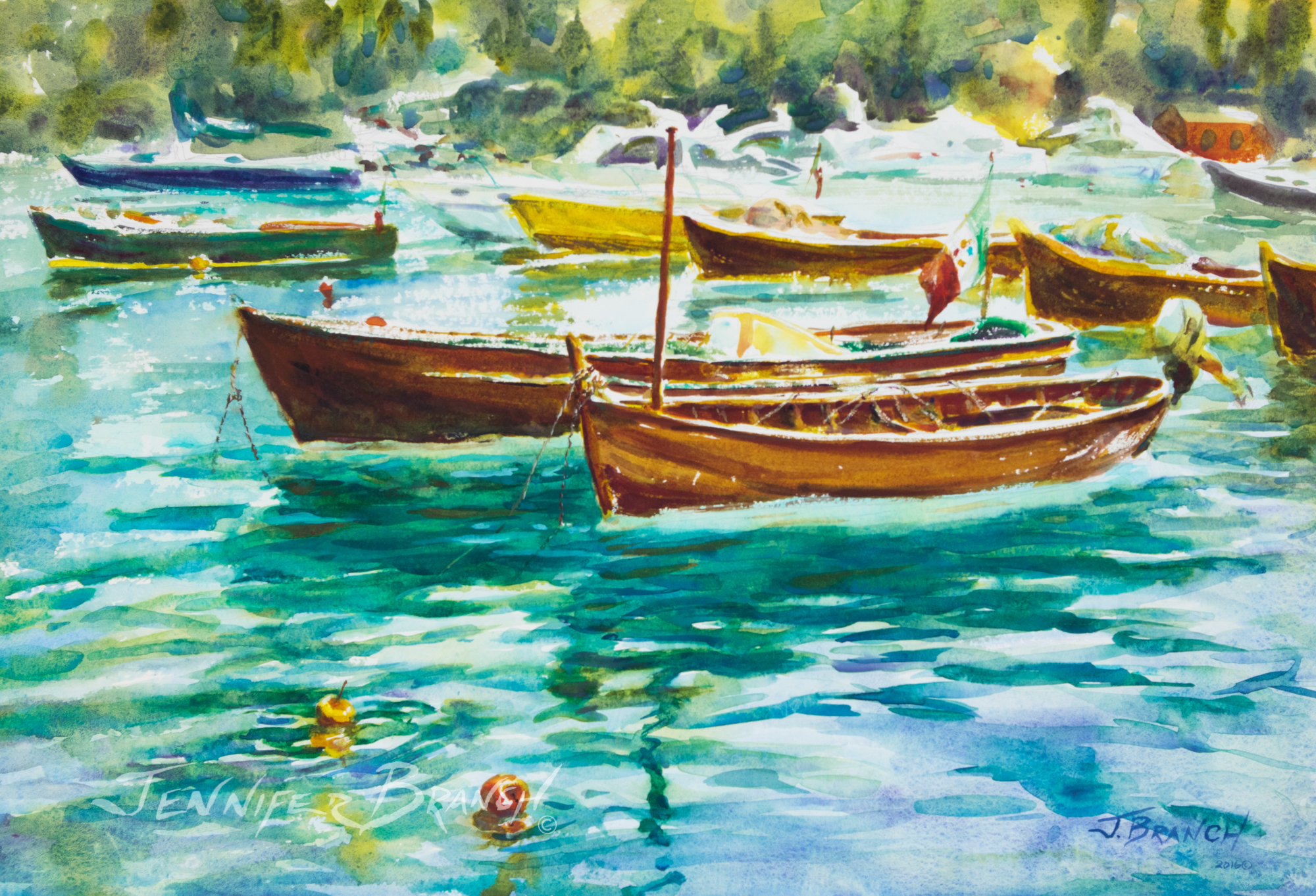 Boats in harbor in Portofino, Italy watercolor painting