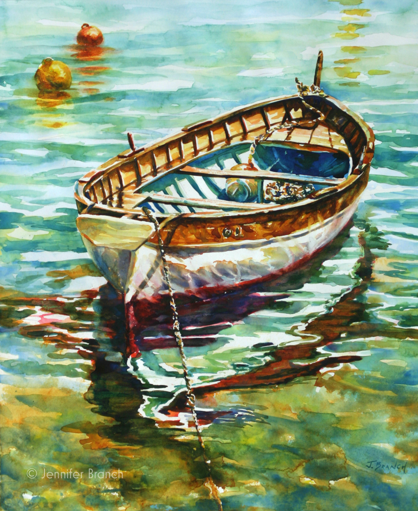 Portofino dinghy watercolor painting  by Jennifer Branch