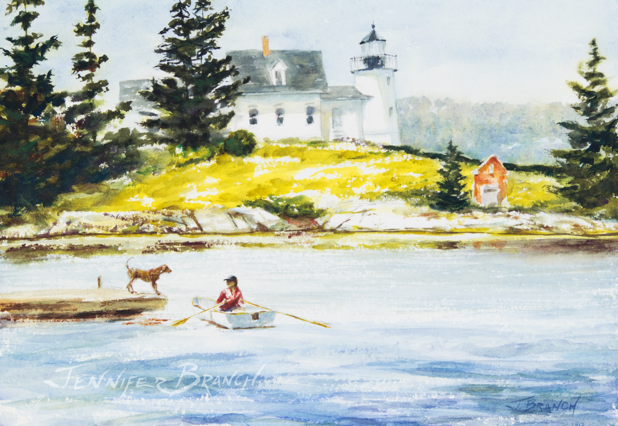 Maine Lighthouse and Dog watercolor painting tutorial