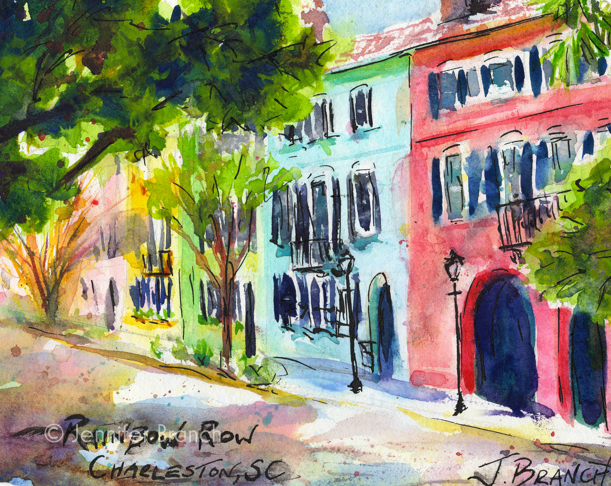 Painting Rainbow Row, Charleston watercolor painting lesson by Jennifer Branch