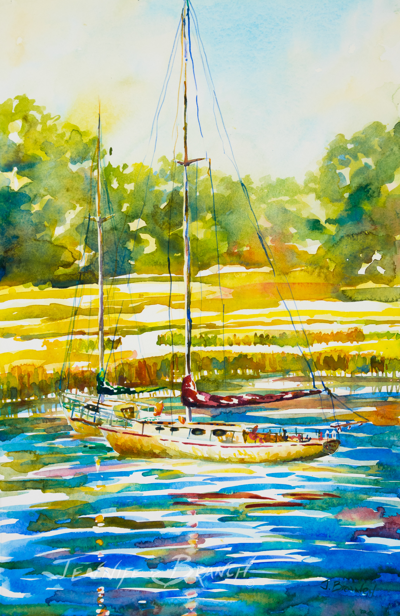 Sailboat watercolor painting by Jennifer Branch.