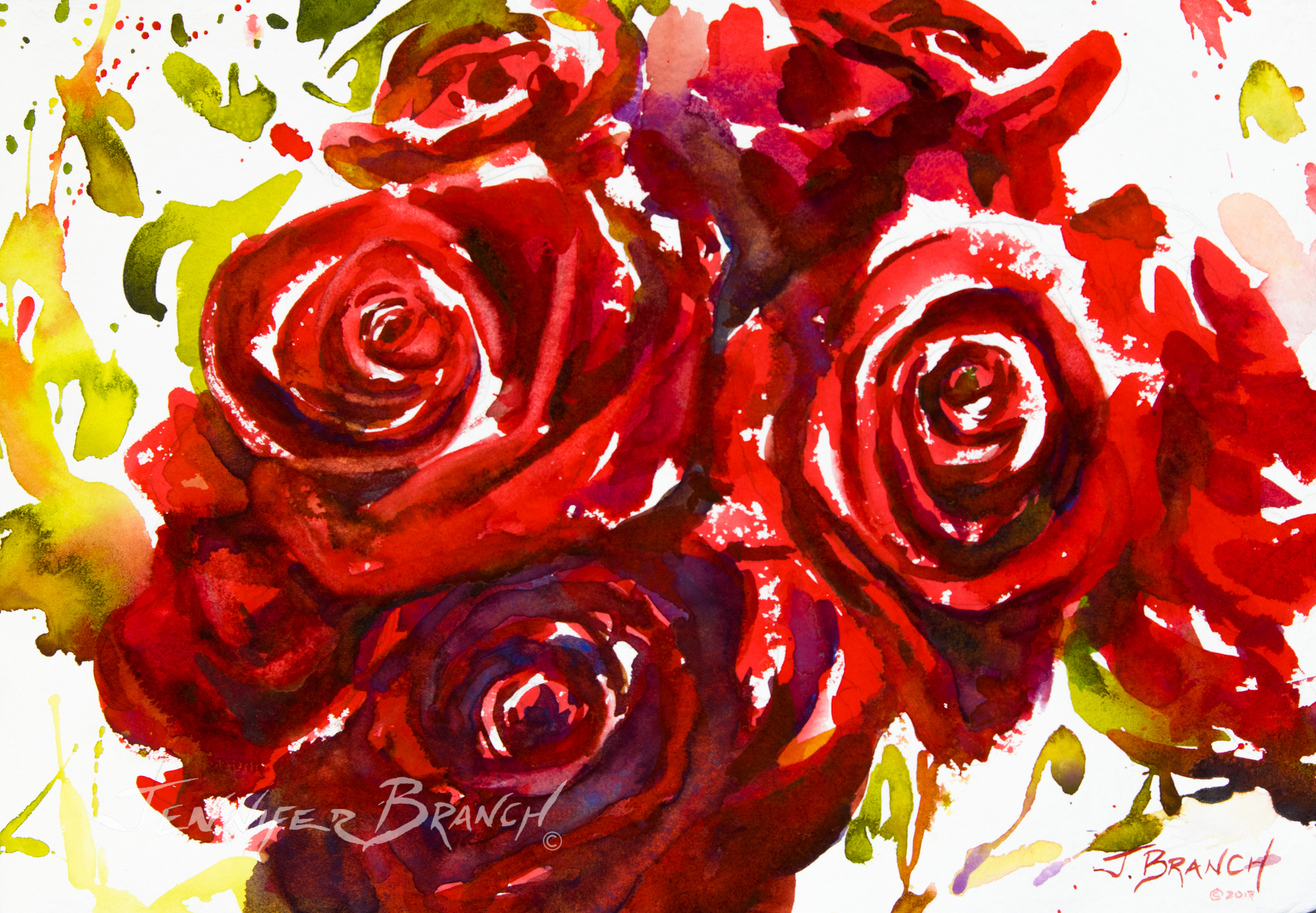 Beautiful red roses watercolor painting, full of romance!