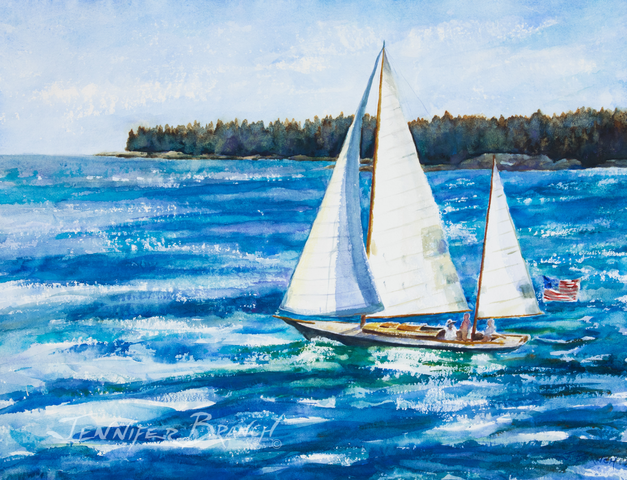 Sailboat flying an American flag watercolor painting. by Jennifer Branch.