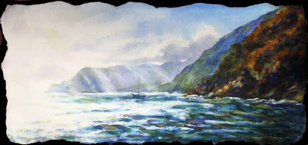 Sailing Vernazza Italy watercolor painting by Jennifer Branch