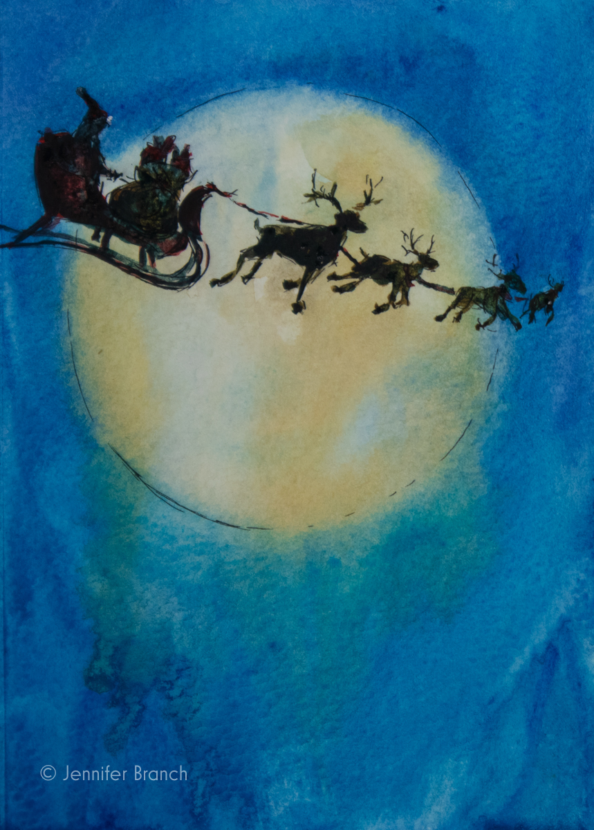 12 Days of Christmas Cards, Santa Moon by Jennifer Branch
