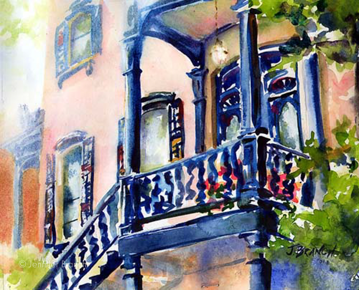 Savannah doorway watercolor painting