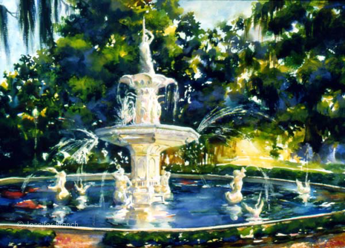 Savannah fountain Forysth Park watercolor painting
