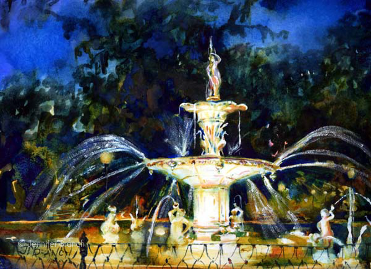 Forsyth Park fountain at night watercolor painting