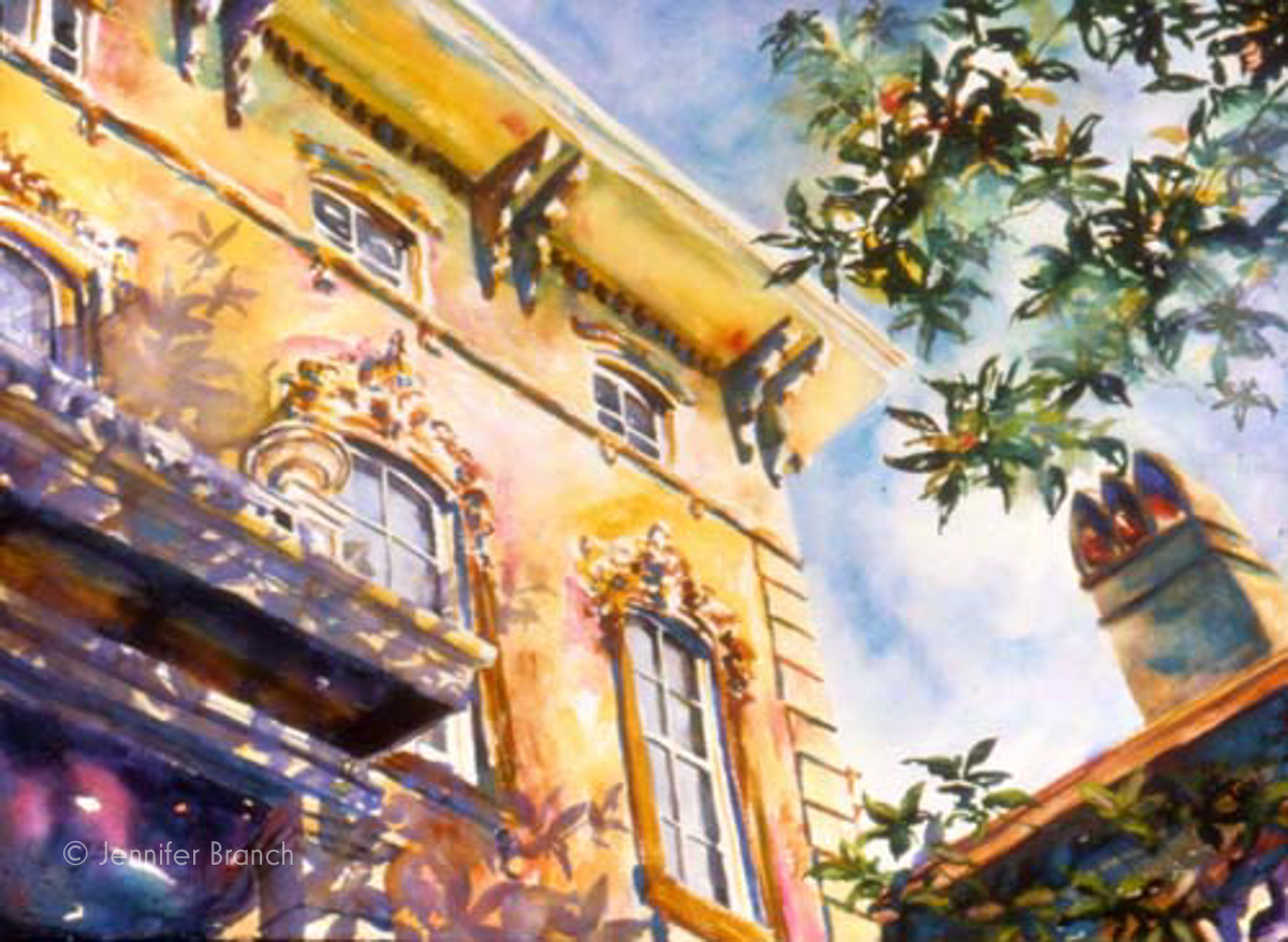 Noble Hardee House Savannah watercolor painting