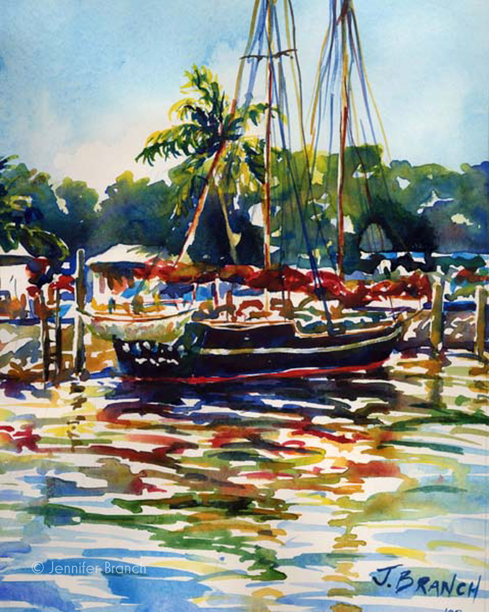 Schooner painting Everglades painting by Jennifer Branch