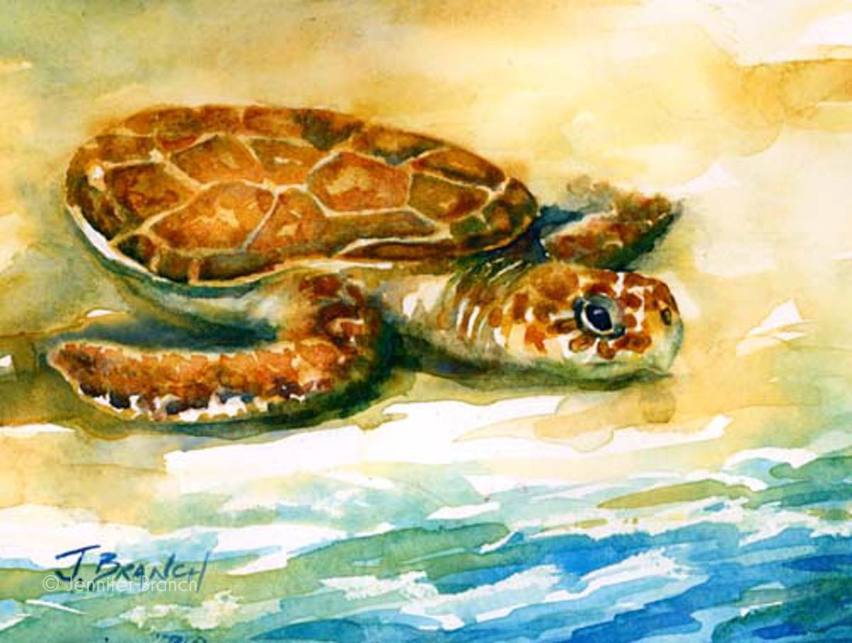 Sea turtle nestling watercolor painting