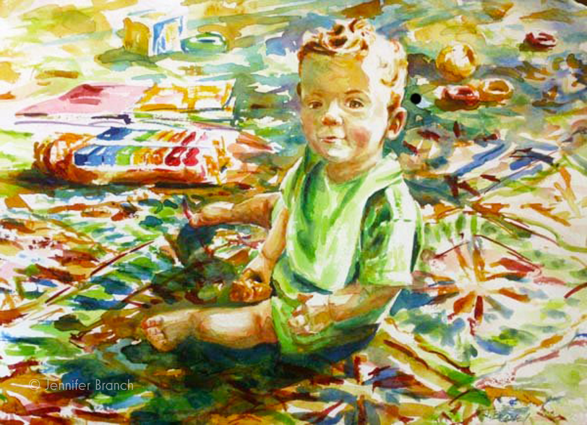 Boy 39 s portrait on rug watercolor painting tutorial for Watercolor portrait tutorial