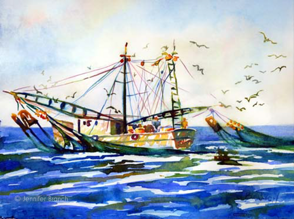 shrimp boat watercolor painting by Jennifer Branch
