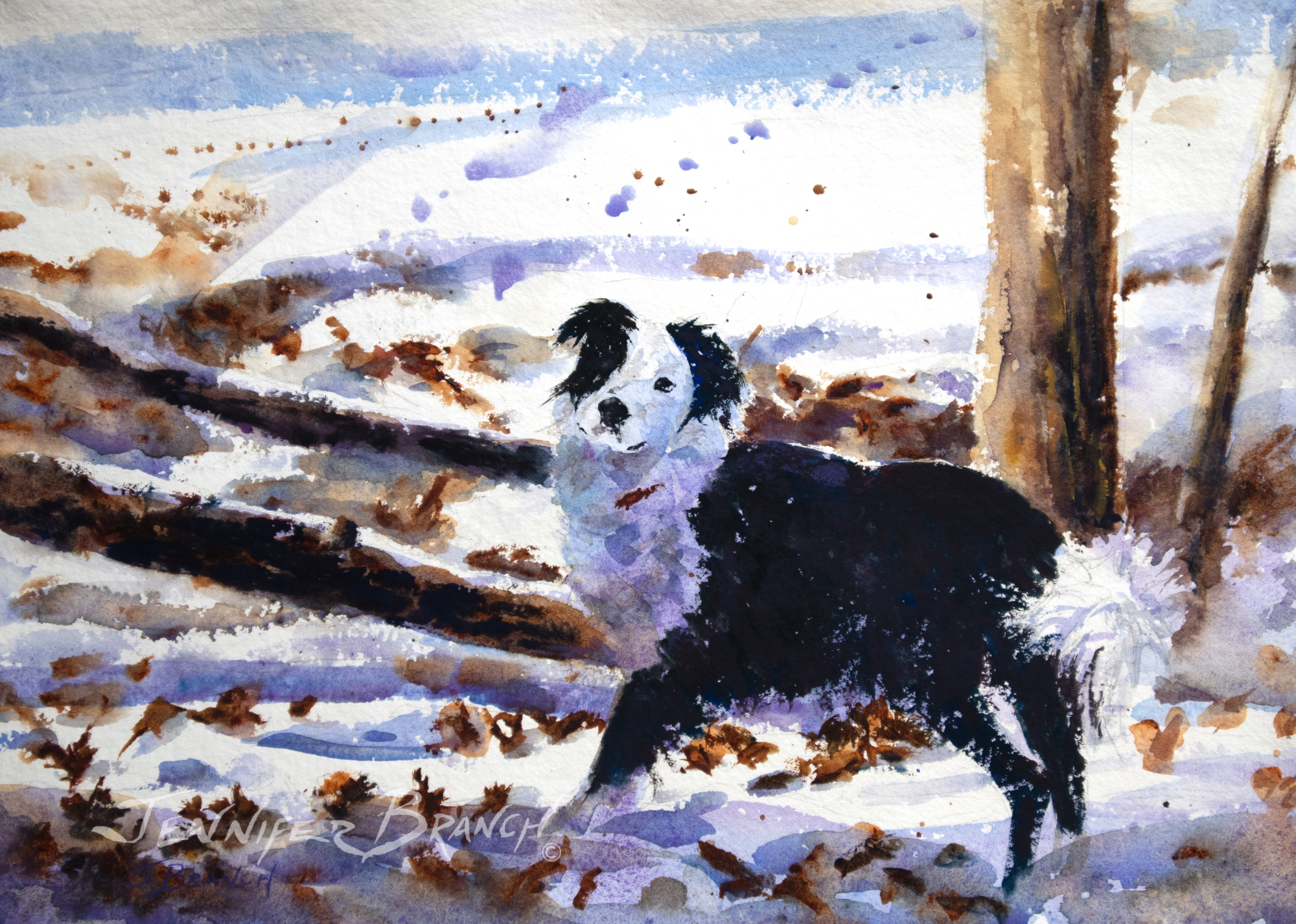 Snow Dog Painting Tutorial watercolor painting tutorial