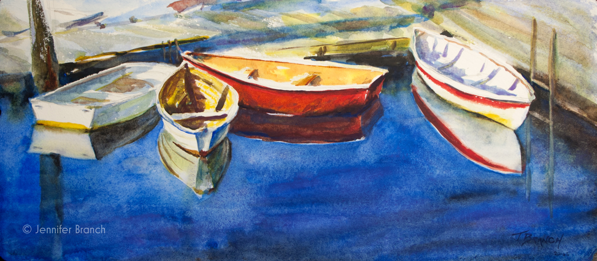Southwest Harbor Dinghies Reflections watercolor painting tutorial