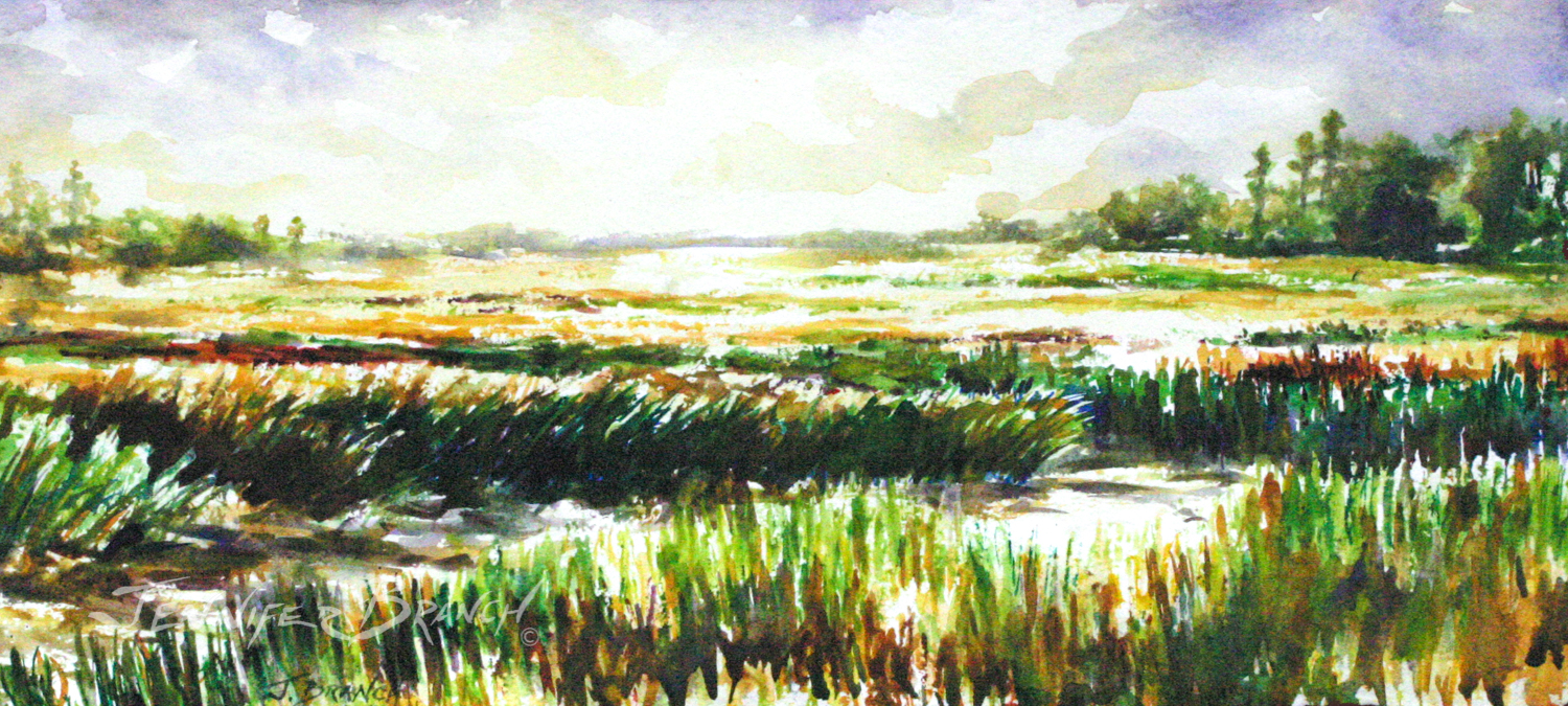 storm coming over salt marsh watercolor painting by Jennifer Branch.