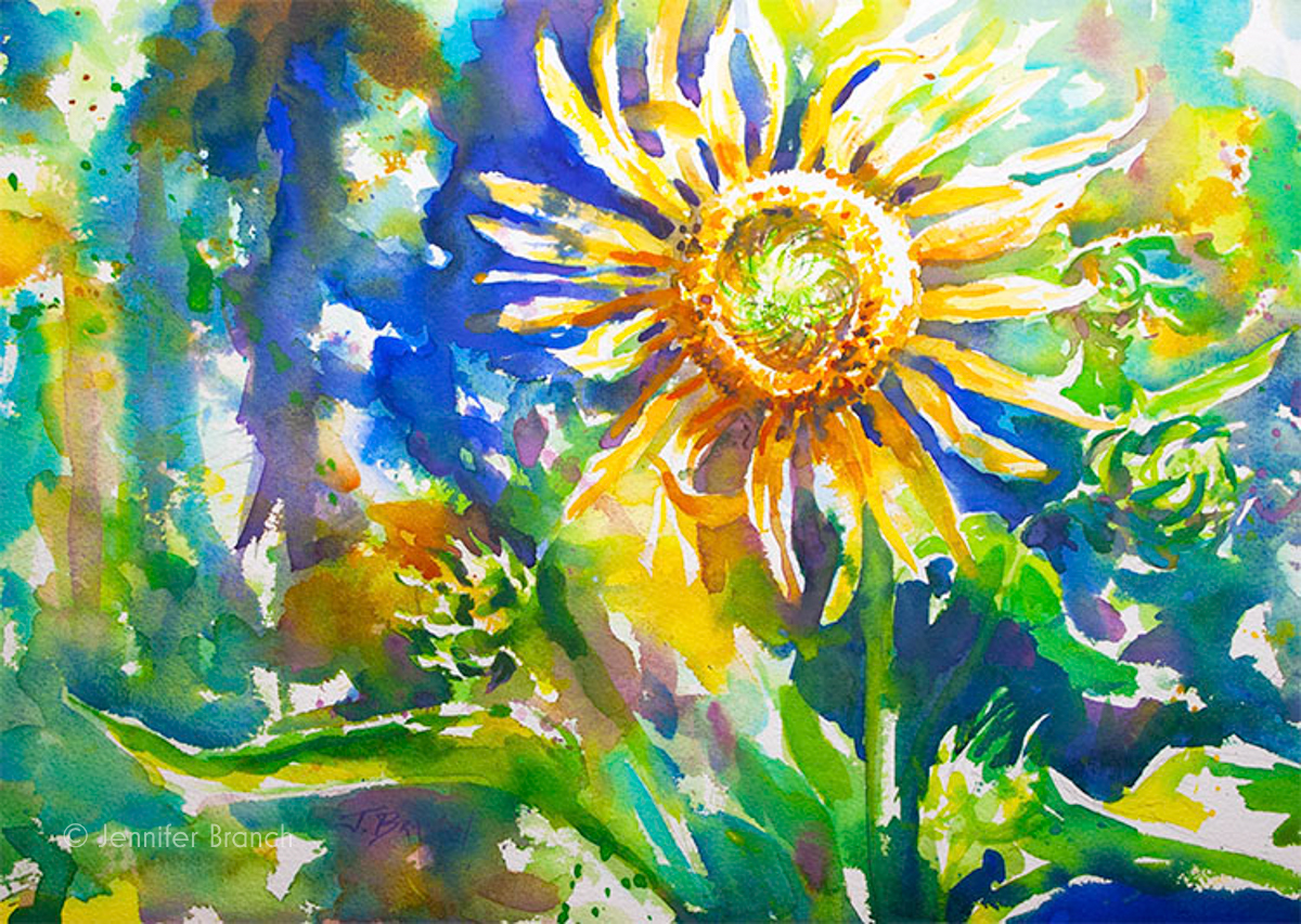 Sunflower watercolor painting tutorial