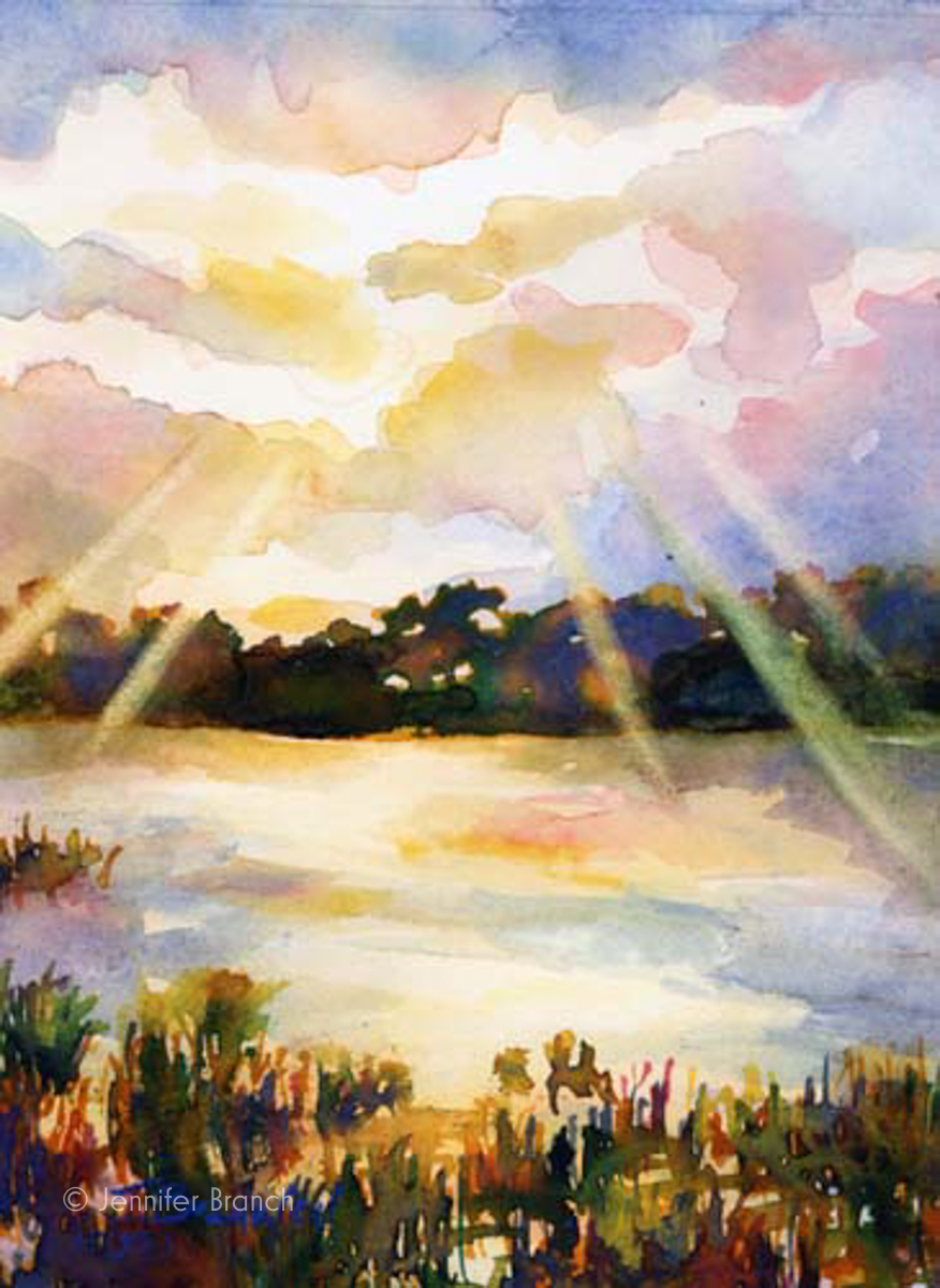 sunset on a salt marsh watercolor painting