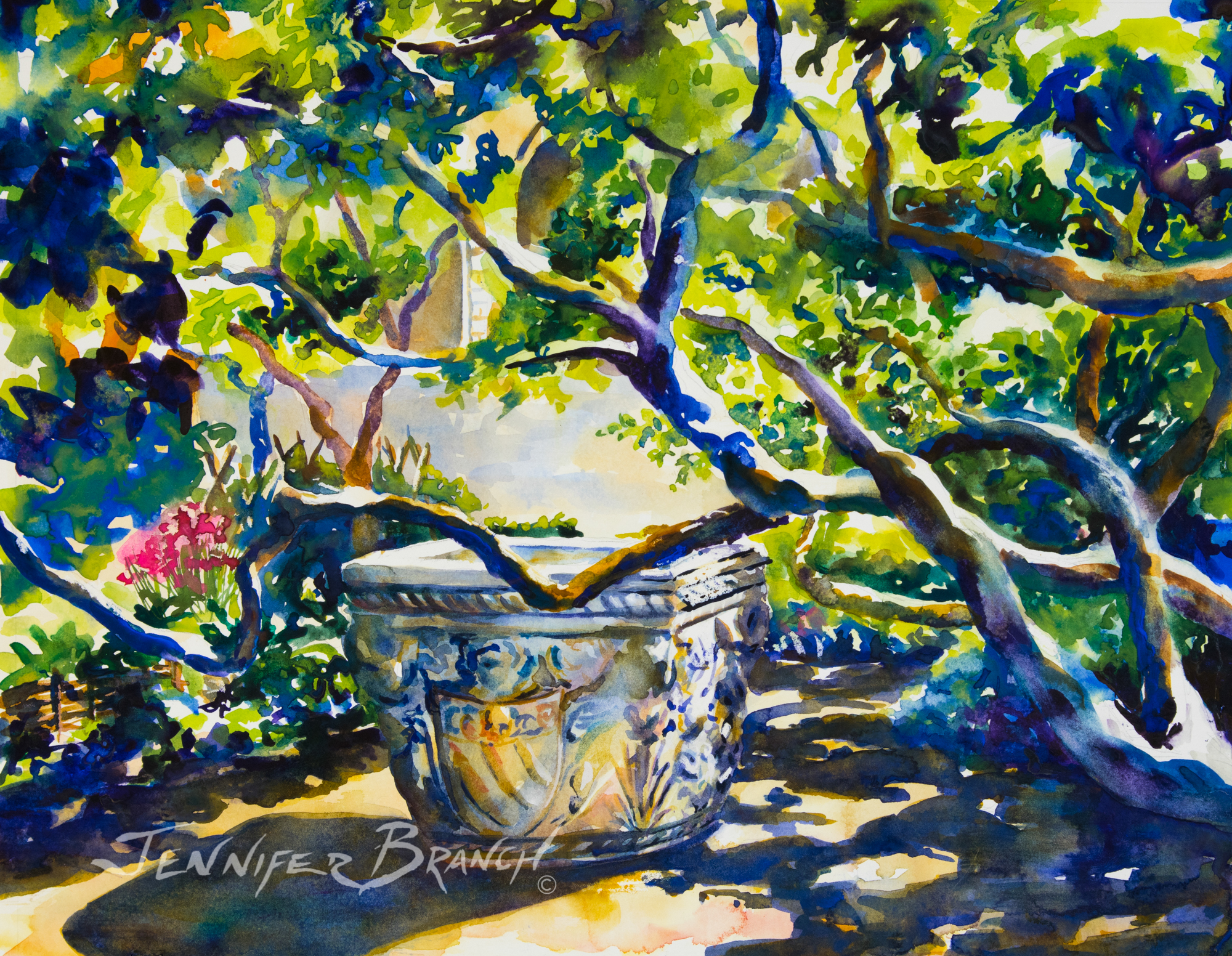 Watercolor painting of gnarled pear trees encircling an ancient font at The Cloisters Museum in New York.