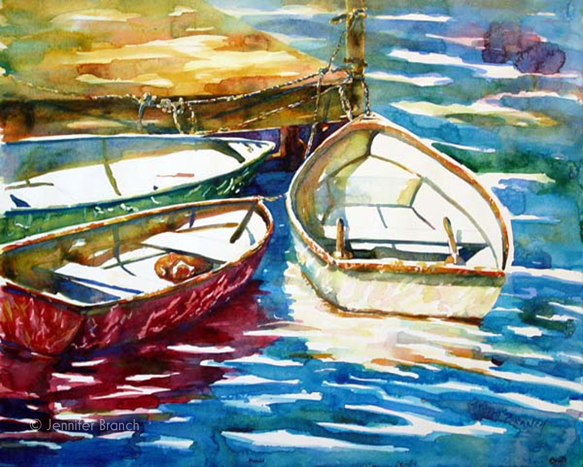 dinghies watercolor painting