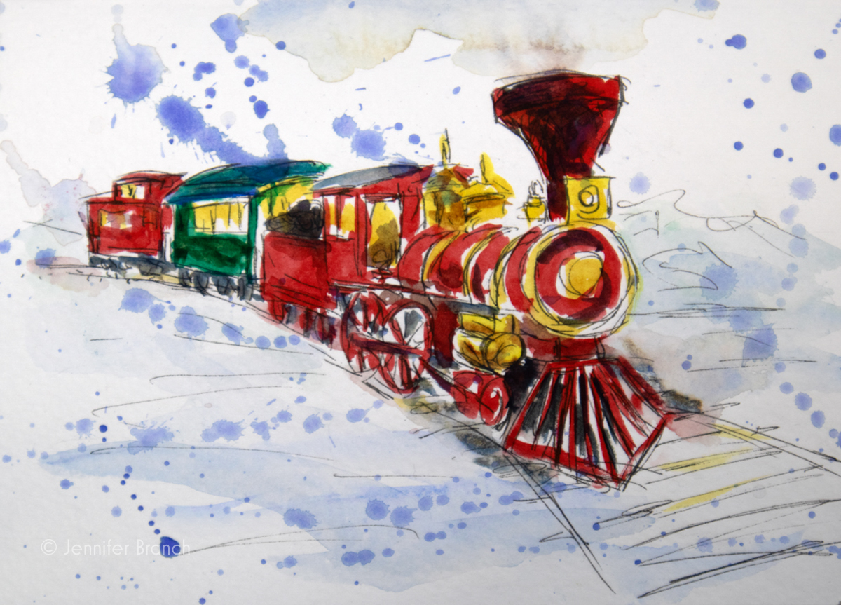 12 Days of Christmas Cards, Train by Jennifer Branch