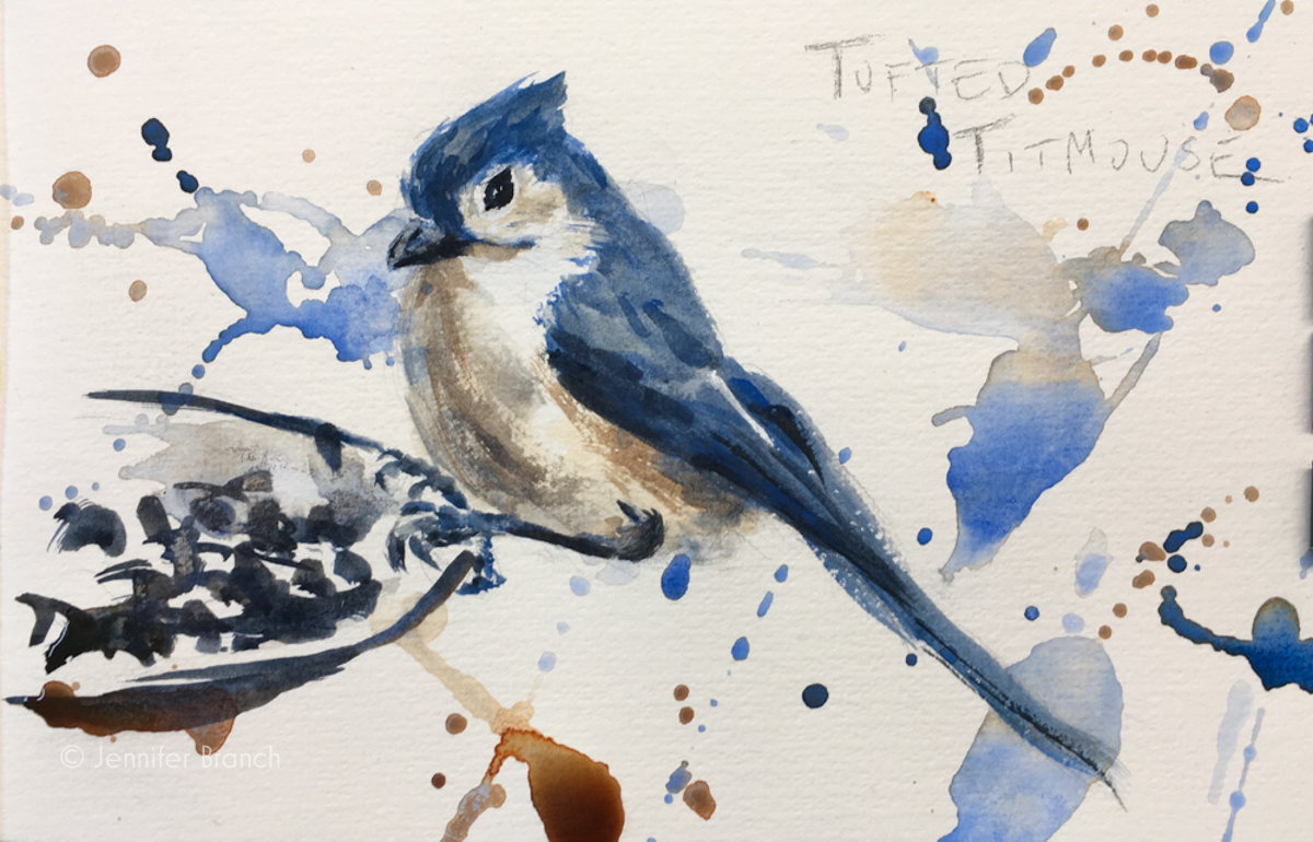 Backyard Bird Sketch, Tufted Titmouse by Jennifer Branch