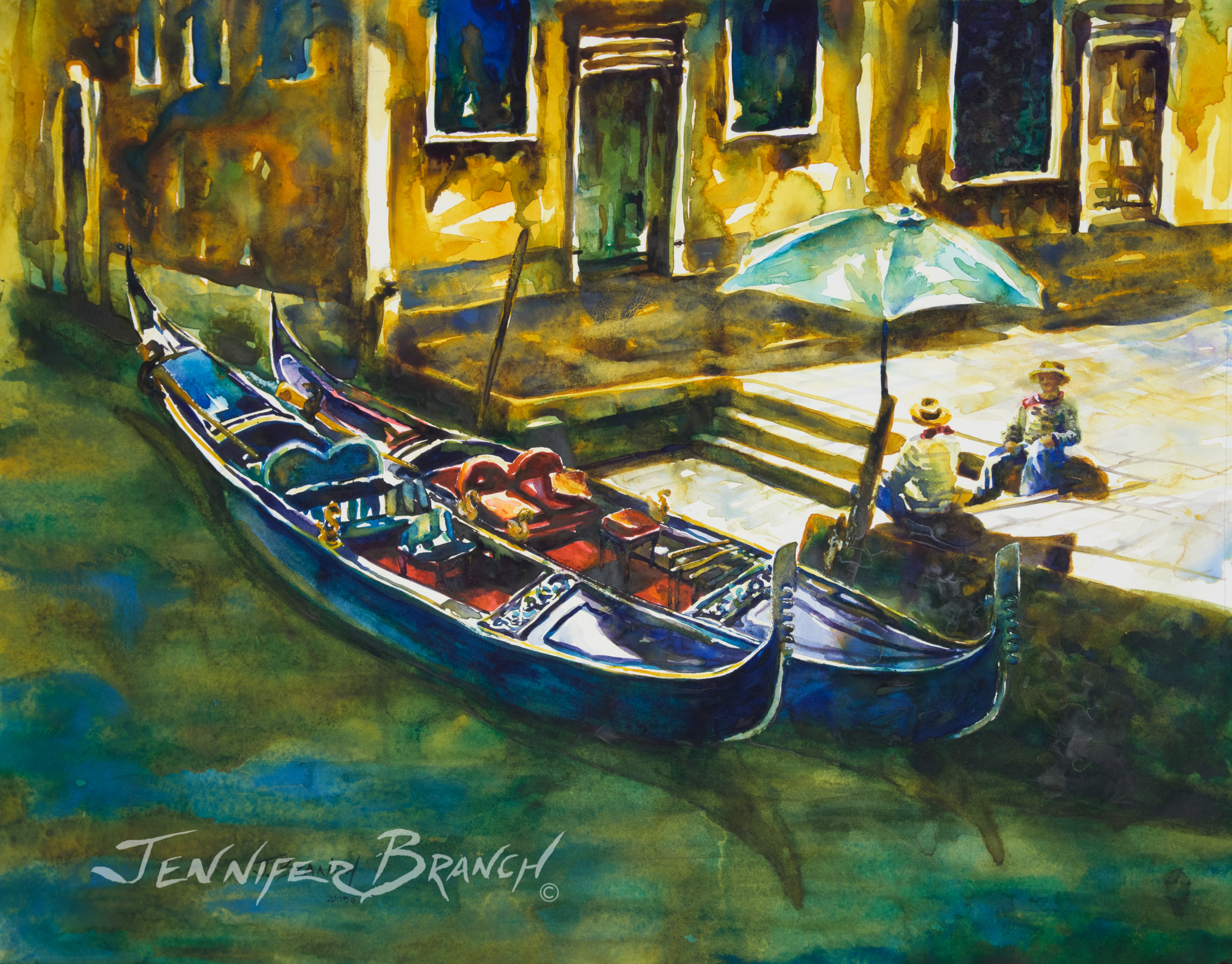 venice gondolas watercolor painting by Jennifer Branch.