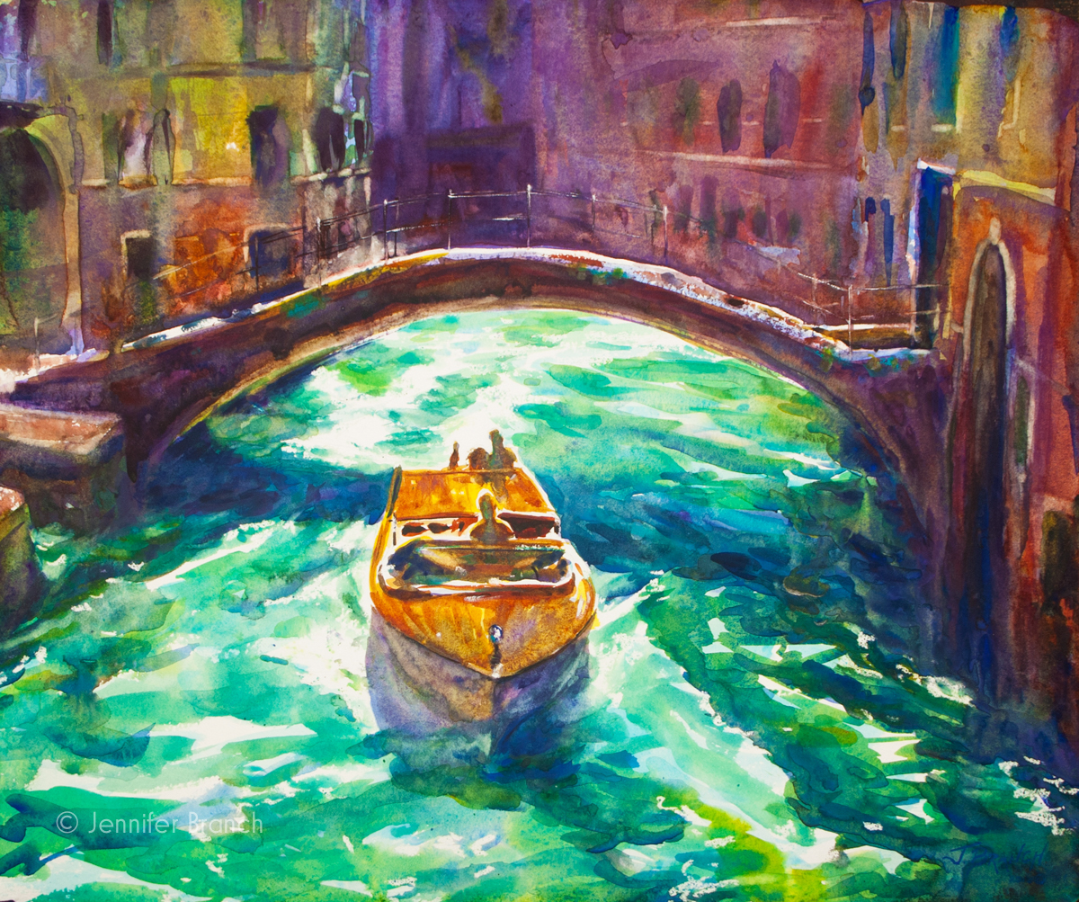 Watercolor painting of a Venice water taxi racing through the canals.