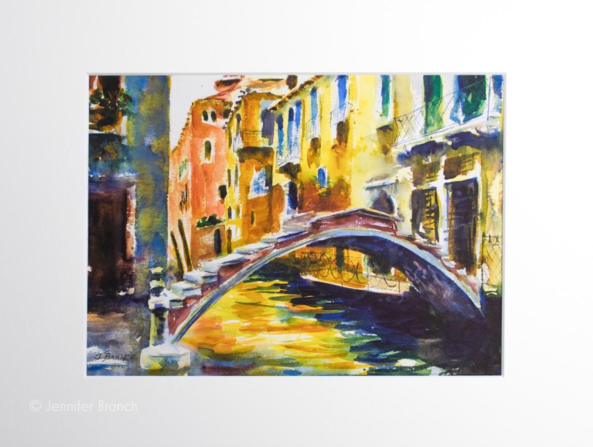 Venice Bridge 8 x 10 print in mat.