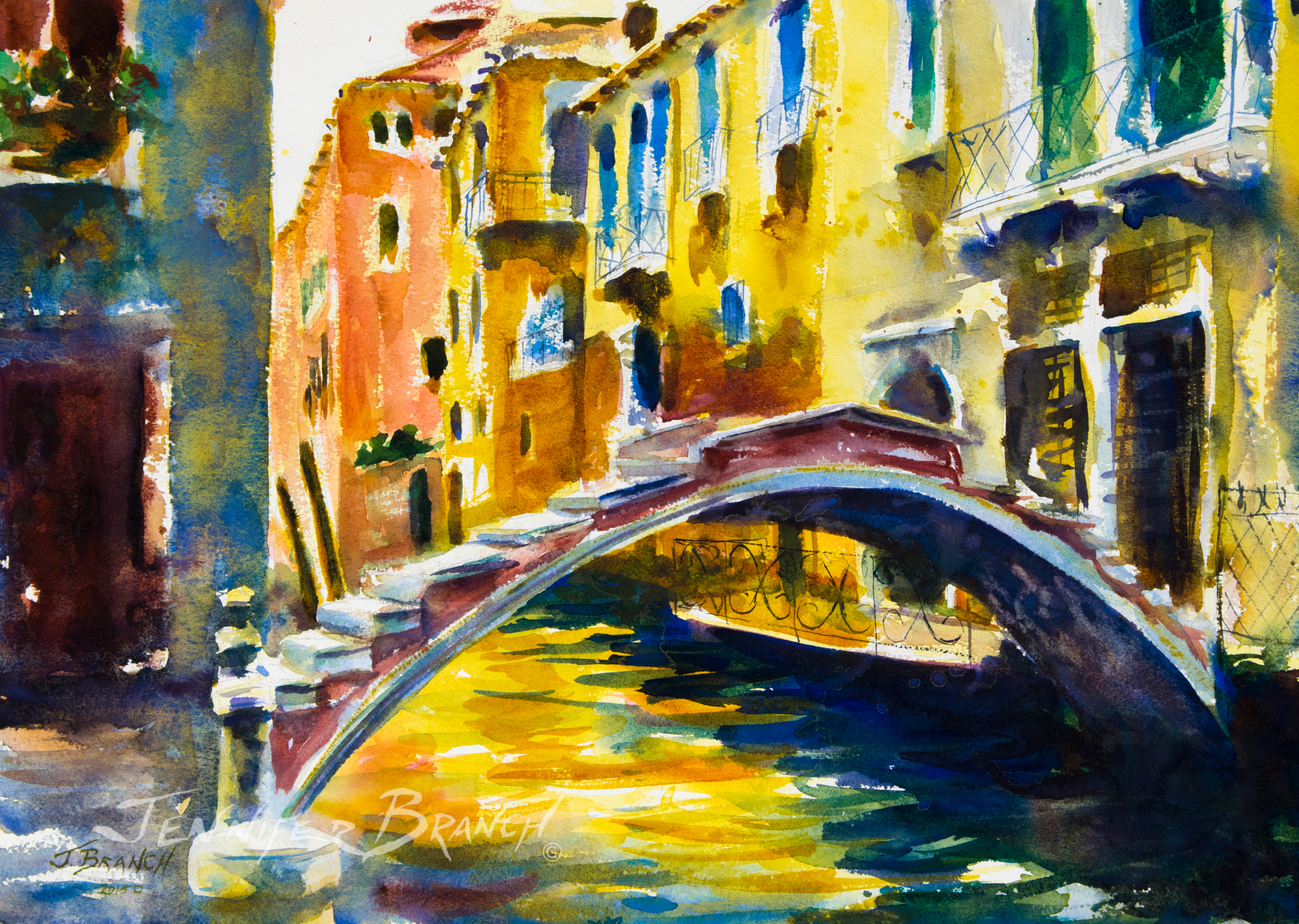 lovely watercolor painting of the Ponte Chiodo in Venice