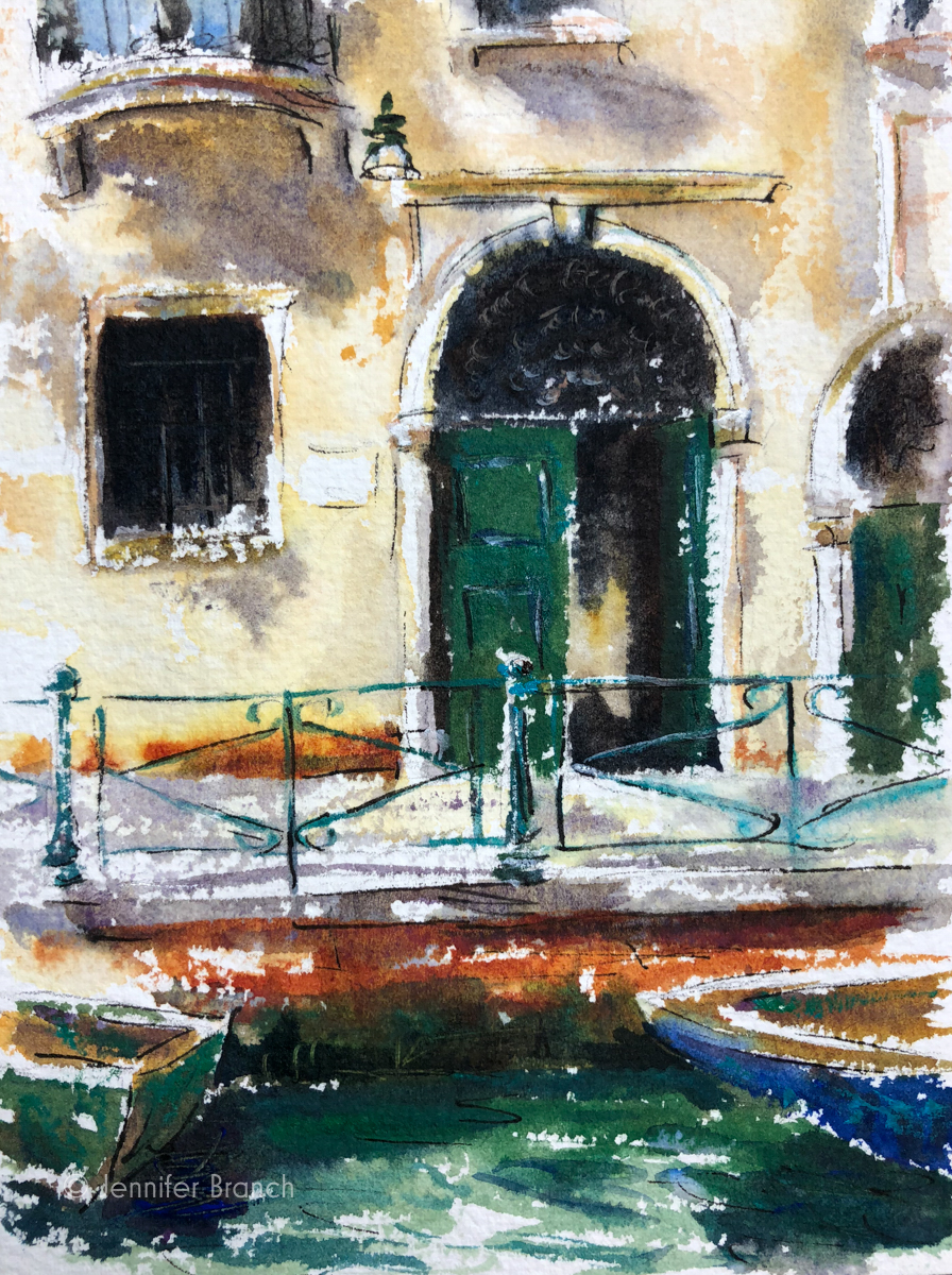 A tiny sketch of a green door in Venice, Italy.