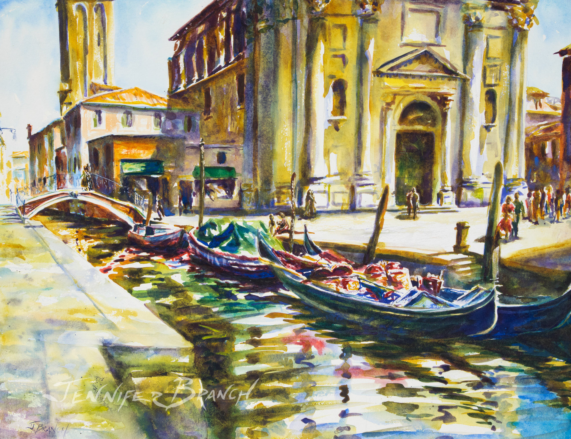 venice canal watercolor painting