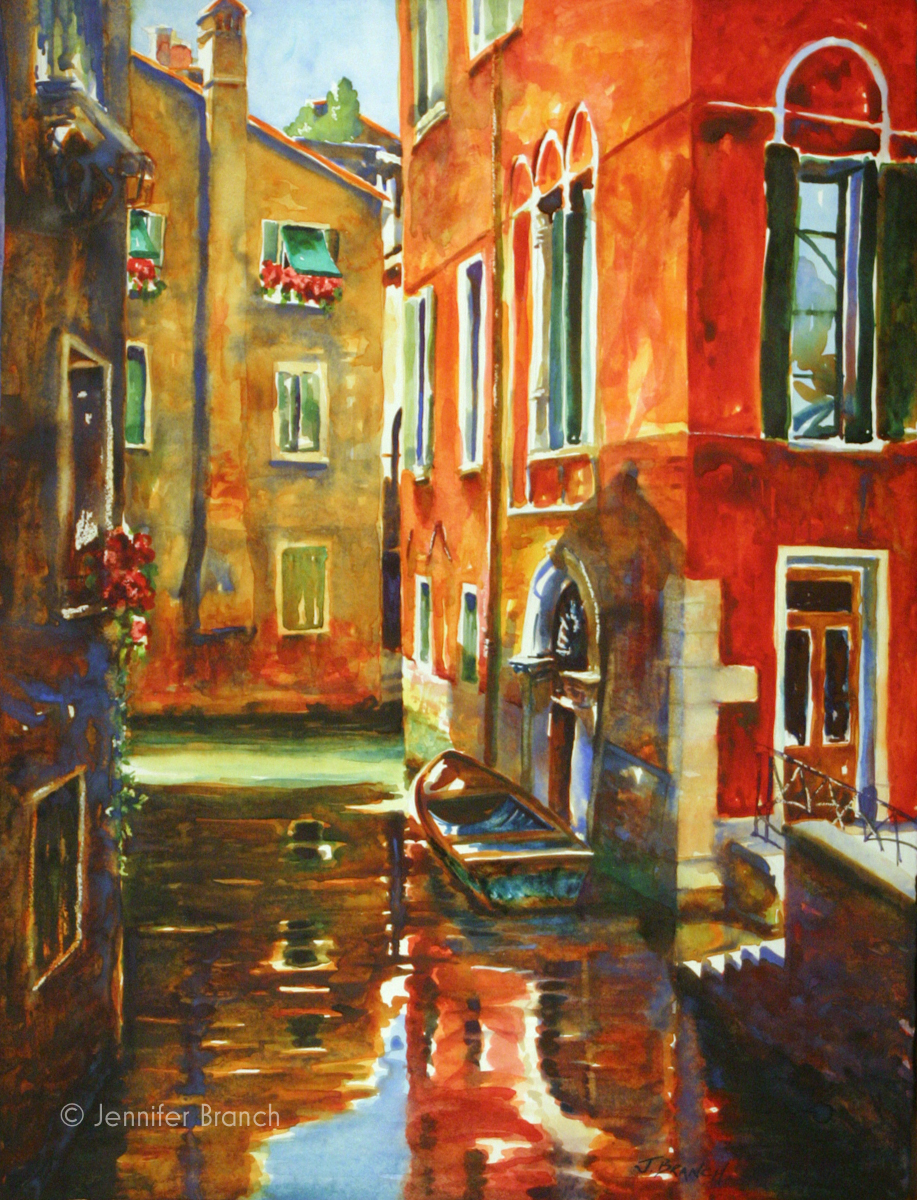 Venice Canal Rio del Mondo Nuovo watercolor painting by Jennifer Branch