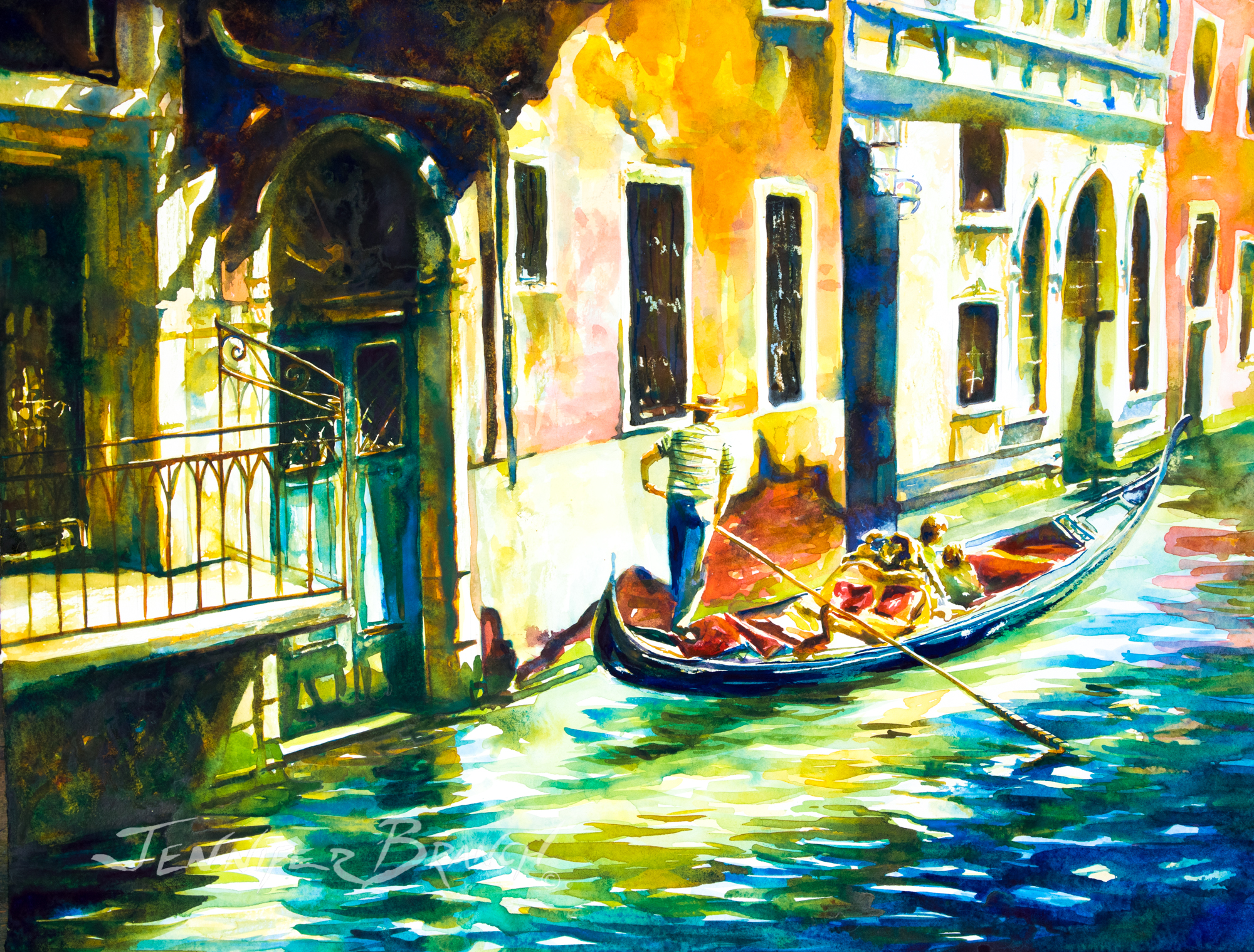 venice gondola painting by Jennifer Branch