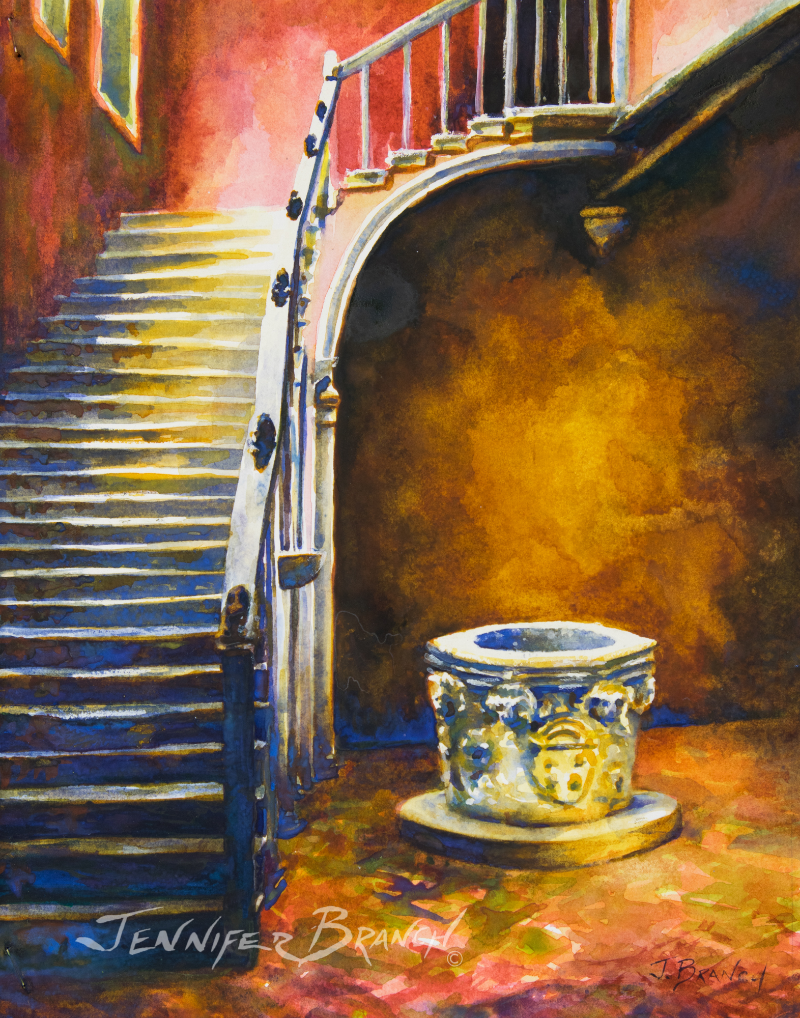 Venice Stair watercolor painting