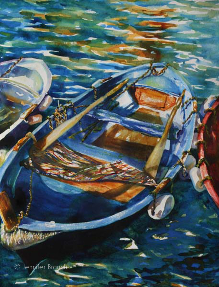Italy boats painting by Jennifer Branch