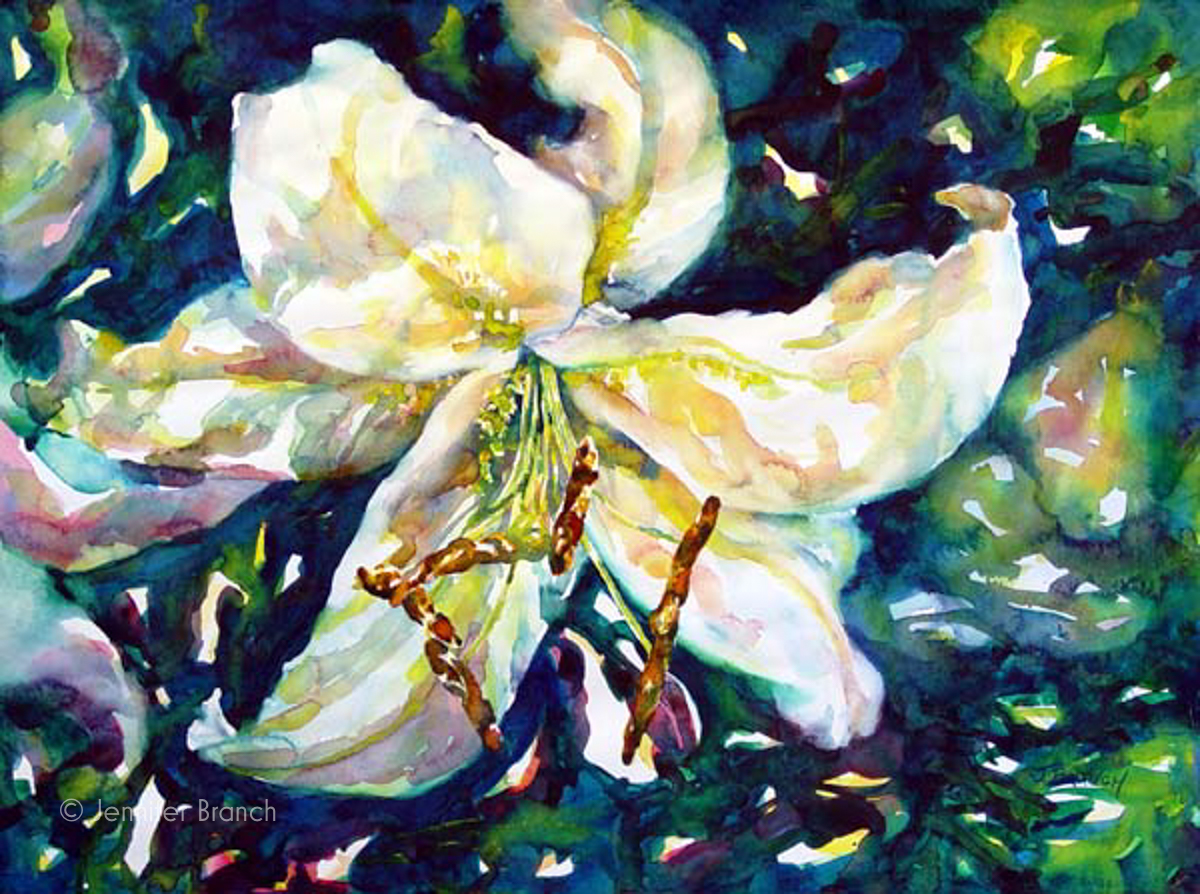 Casablanca lily watercolor painting