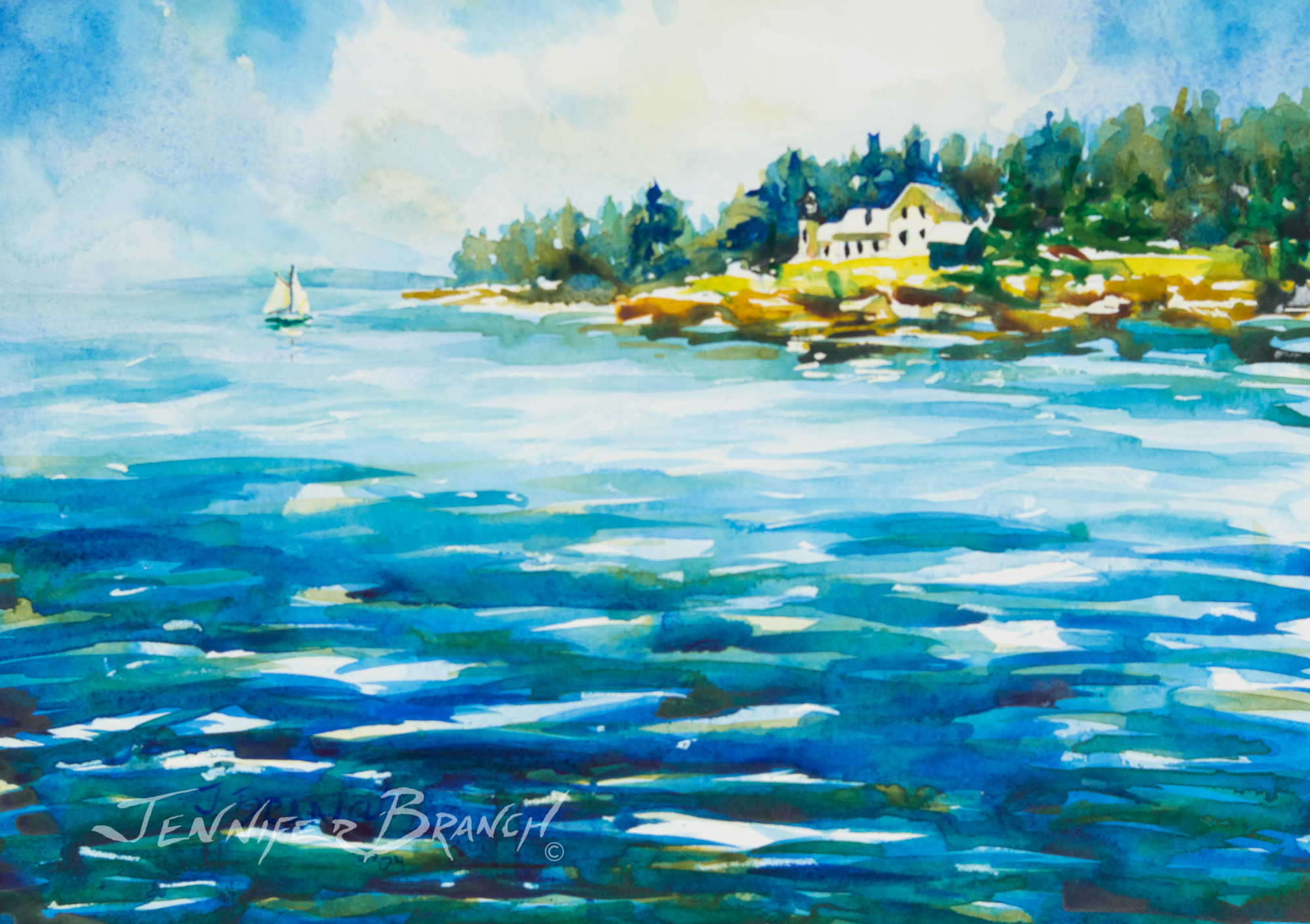 watercolor painting of winter harbor lighthouse, Maine by Jennifer Branch.