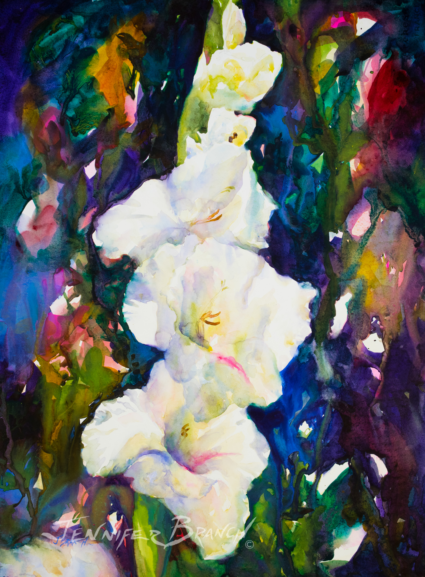 gladioli watercolor painting