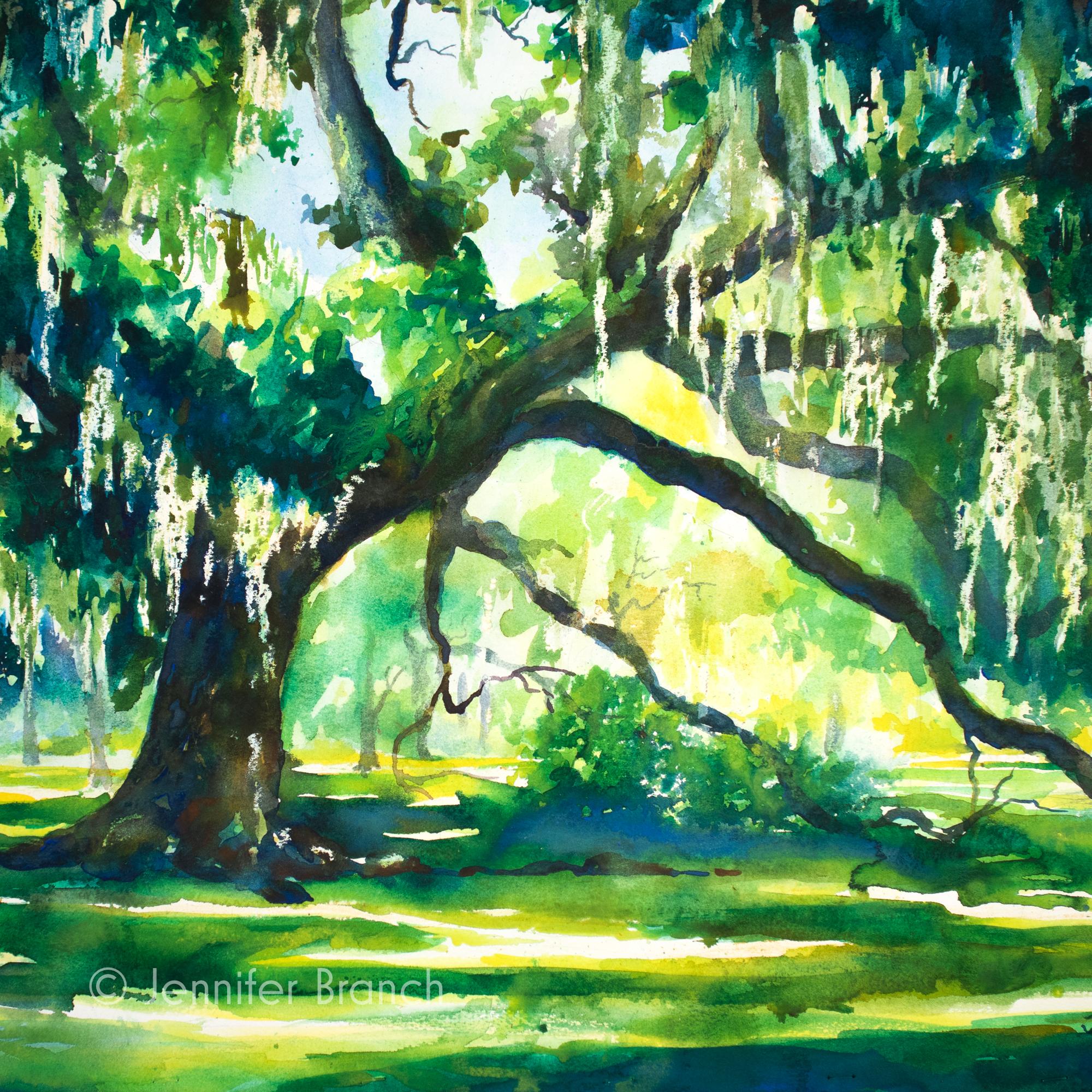 Live oaks in Louisiana landscape painting