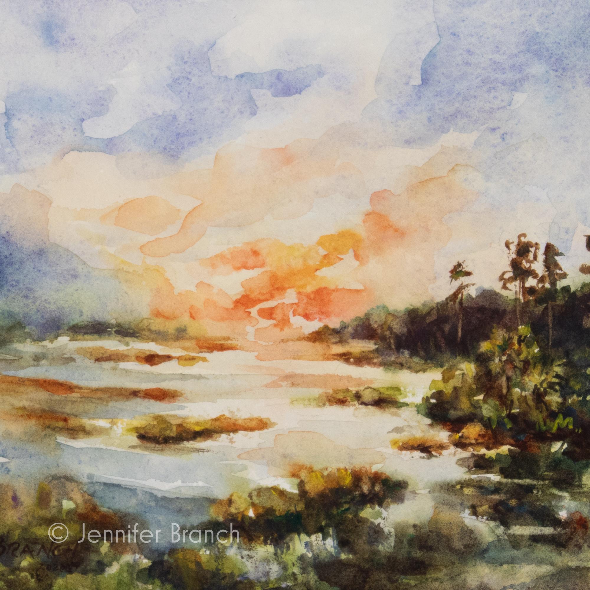 Salt marsh sunset landscape painting